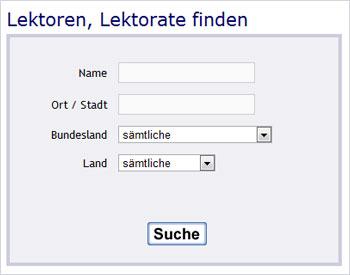 Suchfunktionen Freiberuflerverzeichnis